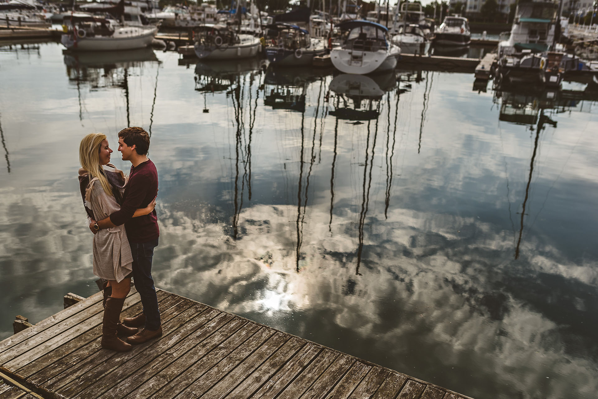 reflection from lake at a cobourg engagement session