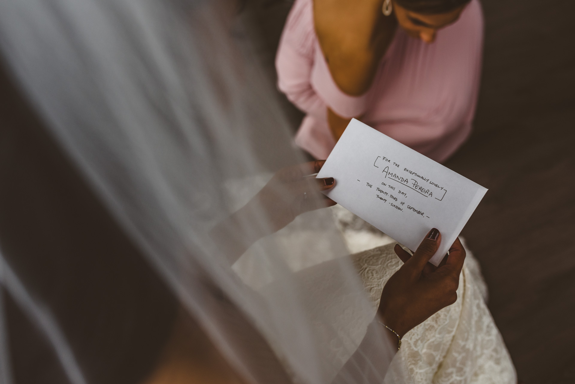 bride reading grooms letter in love