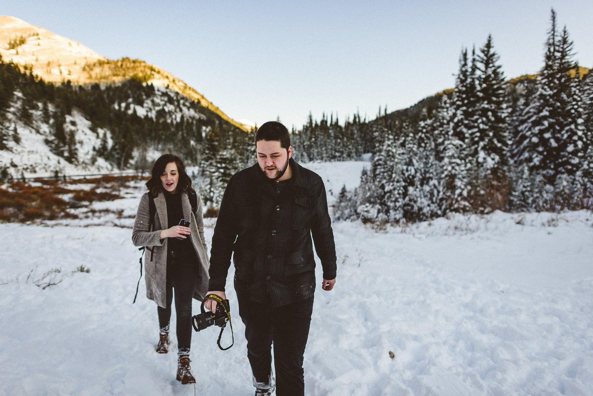 elisha and todd walking at big cottonwood canyon
