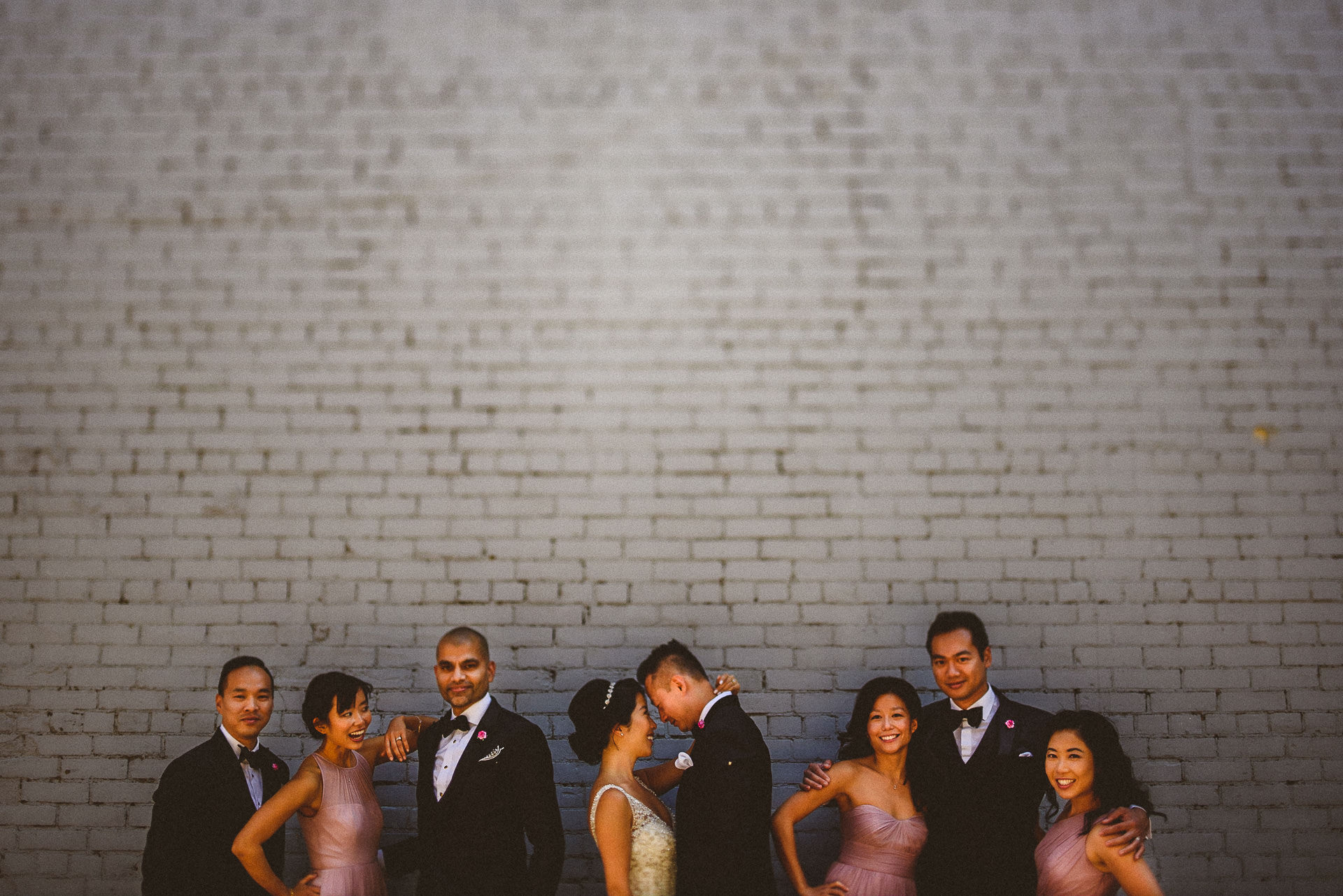 Clean backdrop for wedding party photograph