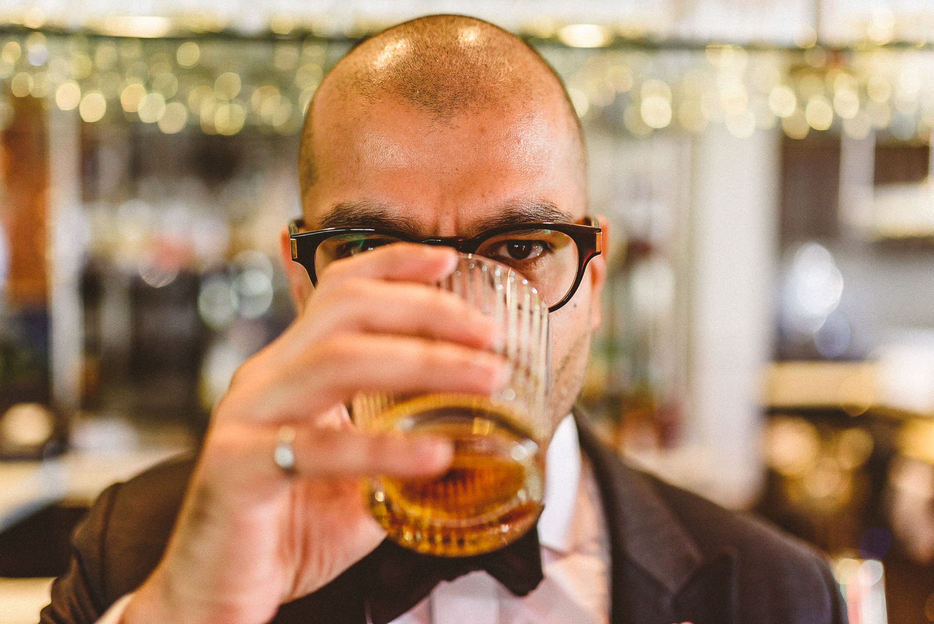 Groomsmen drinking Scotch