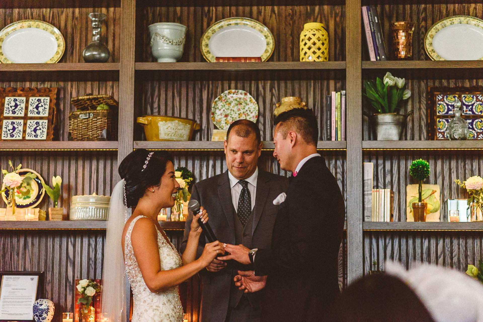 Ring Exchange during wedding at Colette Restaurant