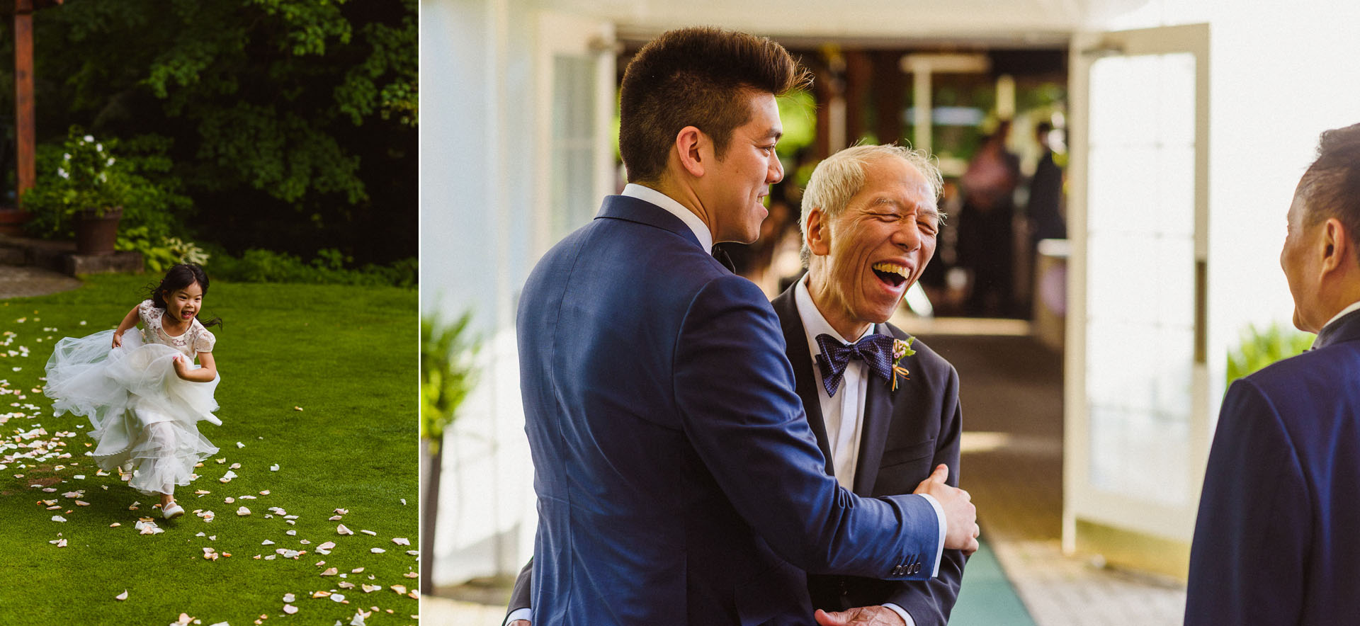 candid moment with groom and his father at Pheasent Run Golf Course Wedding