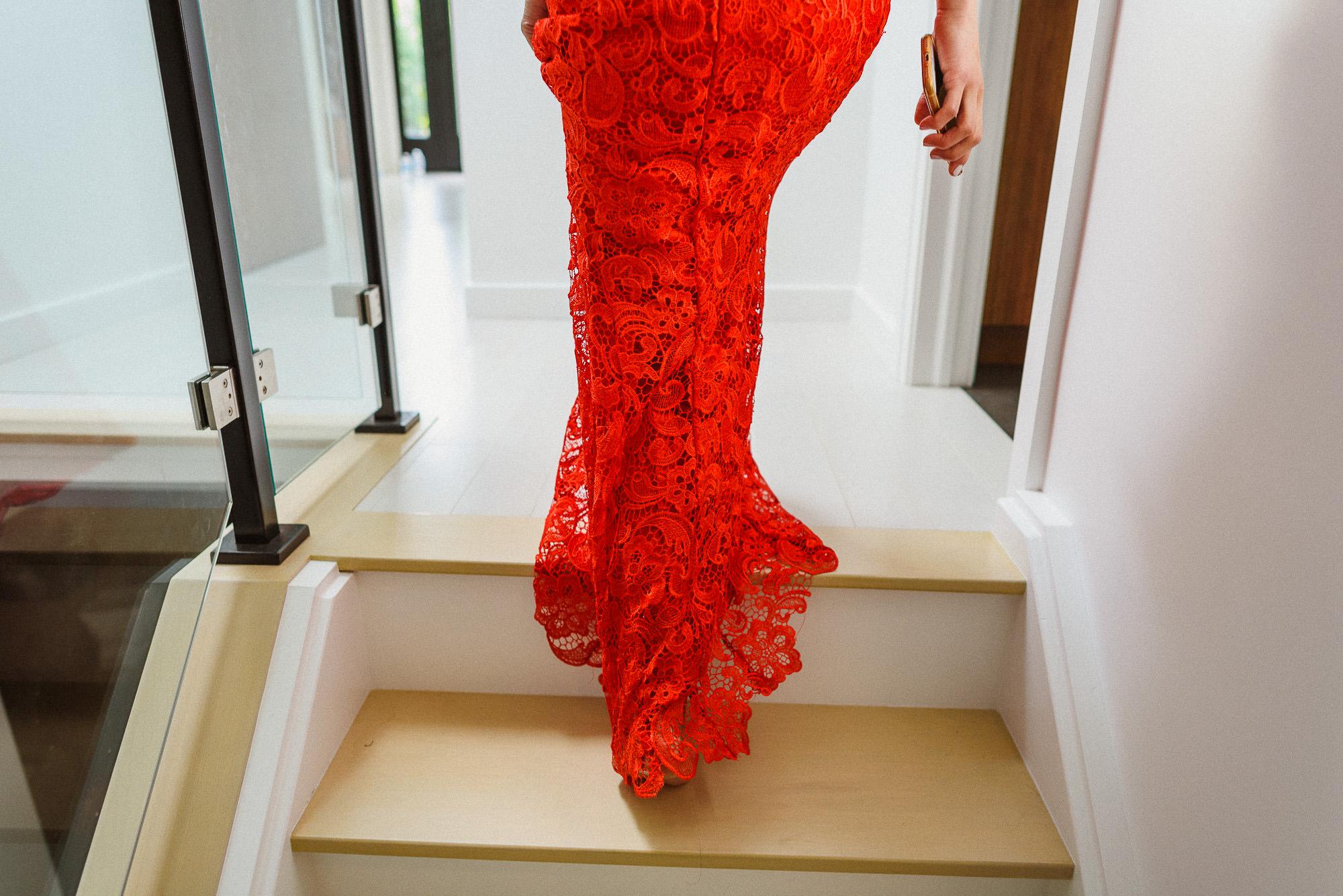 bride walking upstairs