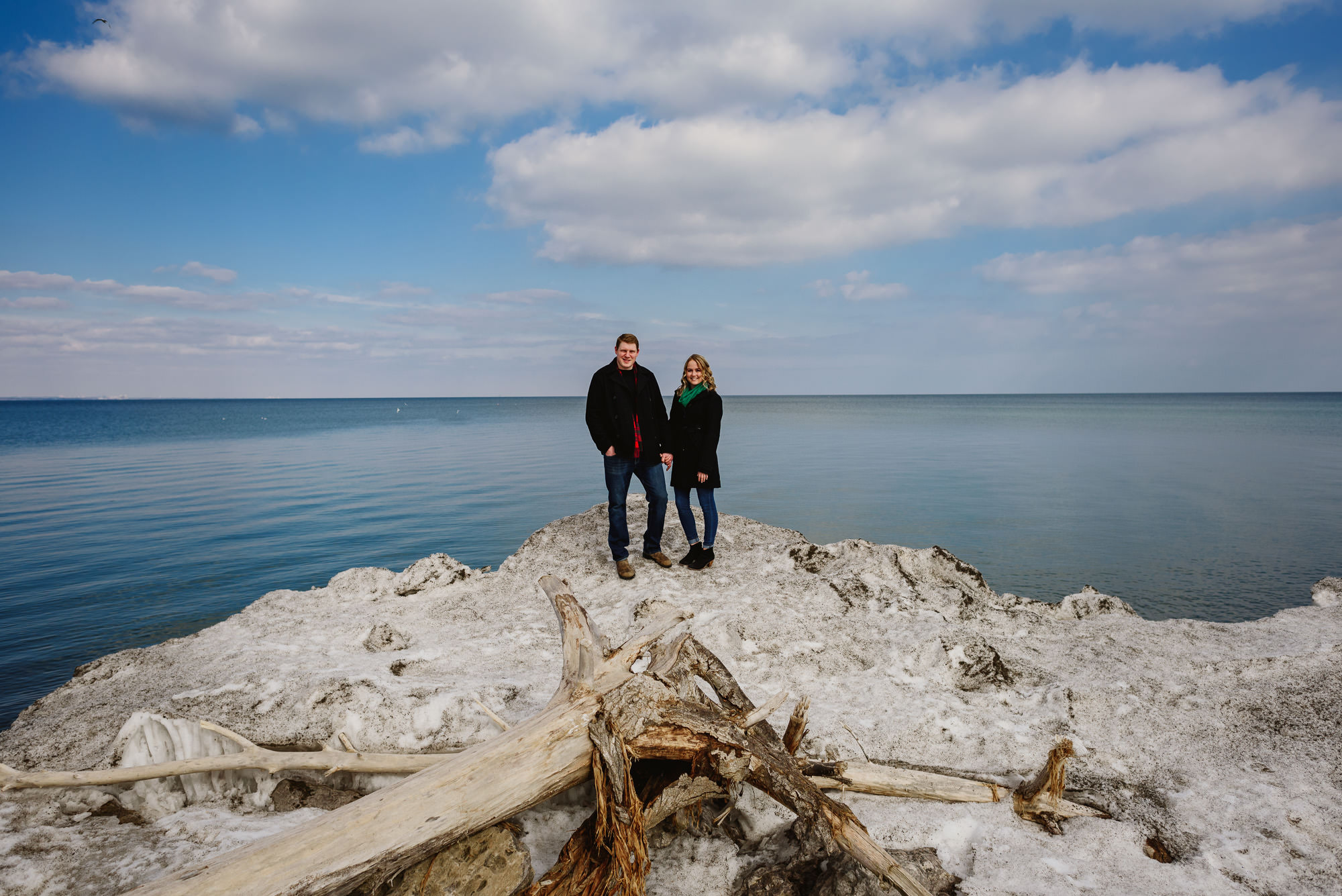 candid and casual Hamilton waterfront engagement session